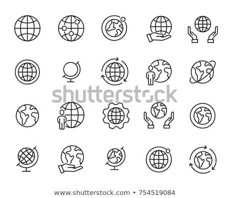 глобализация · линия · икона · вектора · изолированный · белый - Сток-фото © rastudio