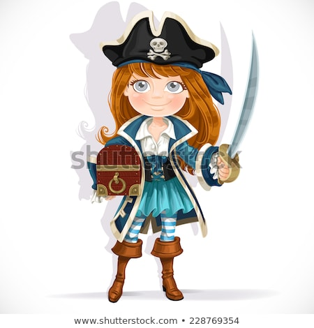 Pirate girl and treasure chest Stock photo © adrenalina