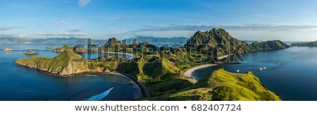 View of landscape with mountains and clear blue sky Stock photo © Klinker