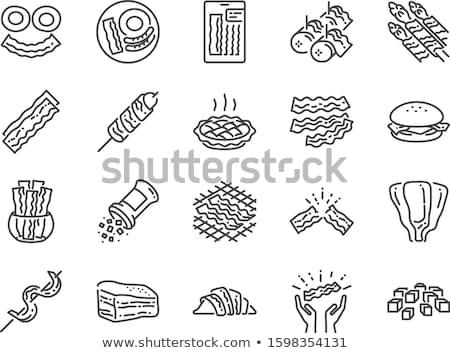Grillezett hús nyárs ropogós szalonna zöldségek étel Stock fotó © Digifoodstock