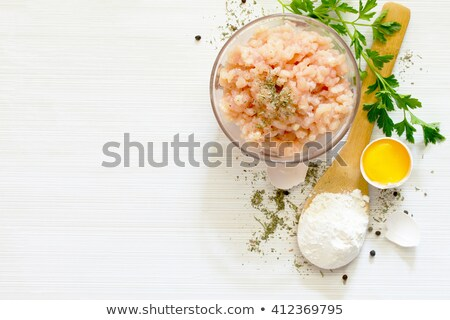 Frescos suelo carne huevo yema de huevo tazón Foto stock © Digifoodstock