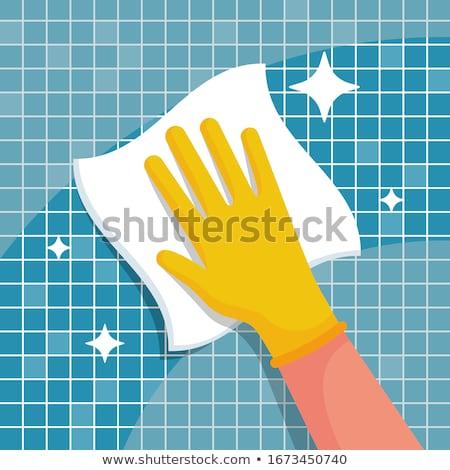 Trapo mão superfície rosa madeira Foto stock © simply
