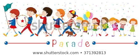Zespołu dzieci parada ilustracja dziewczyna dzieci Zdjęcia stock © bluering