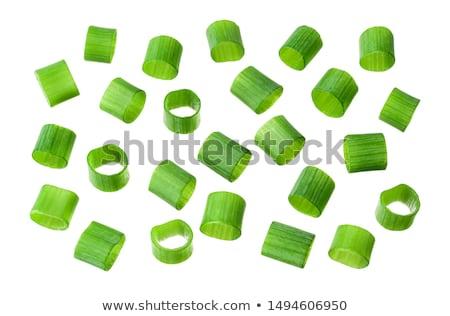 ストックフォト: 切り · チャイブ · ボウル · 緑 · 白 · ハーブ