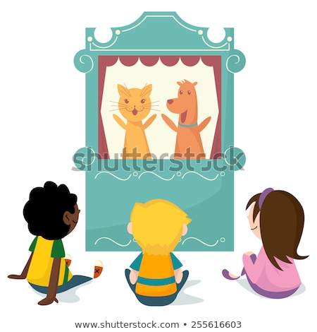 Garçons jouer marionnette stade illustration enfant Photo stock © bluering