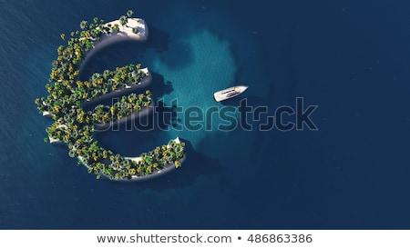 Succes manier tropisch eiland vorm euro symbool Stockfoto © maxmitzu