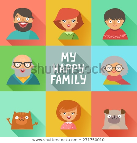 family members happy faces flat avatars set stock photo © vectorikart