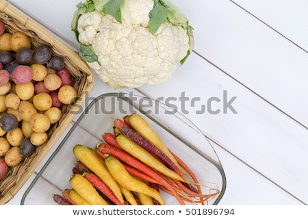Stock photo: Raw cauliflower head beside carrots and potatoes