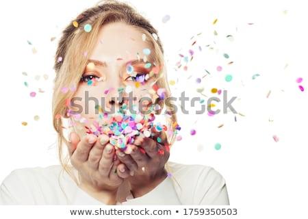 かわいい 若い女性 紙吹雪 カメラ 手のひら ストックフォト © dash