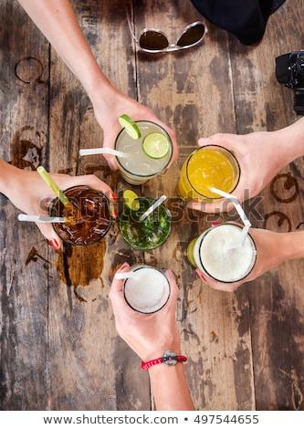 Vue différent boissons boissons haut blanche Photo stock © bluering
