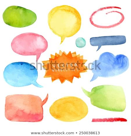 vízfesték · szövegbuborékok · kézzel · rajzolt · textúra · háttér · kék - stock fotó © TrishaMcmillan