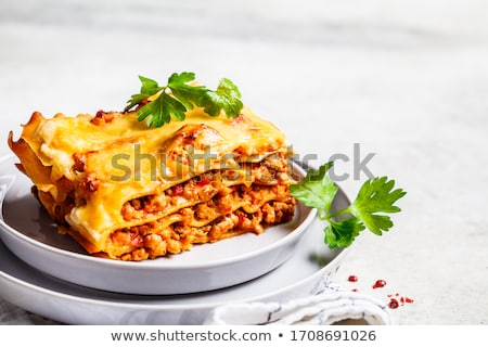 Marhahús lasagne étterem fehér krém étel Stock fotó © M-studio