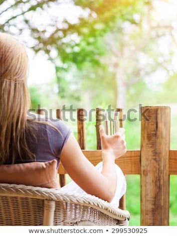 mulher · jovem · varanda · belo · fora · casa - foto stock © deandrobot