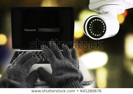 Hacking afbeelding laptop handen leder handschoenen Stockfoto © andreasberheide