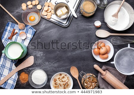 baking and cooking concept variety of ingredients and utensils stock photo © tommyandone