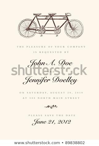 Tandem bicikli virágok dizájn elem esküvő meghívók Stock fotó © NikoDzhi