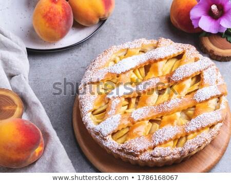 Foto stock: Melocotón · tarta · alimentos · dulce · panadería · rebanada