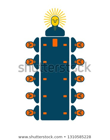Meeting office. Managers at table. boss is light bulb. New ideas Stock photo © popaukropa