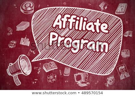 Affiliate Program - Doodle Illustration on Red Chalkboard. Stock photo © tashatuvango