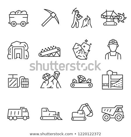 Zwarte mijnbouw lijn icon vector geïsoleerd Stockfoto © RAStudio