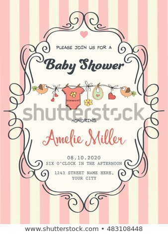 delicate customizable baby shower card template with birds Stock photo © balasoiu