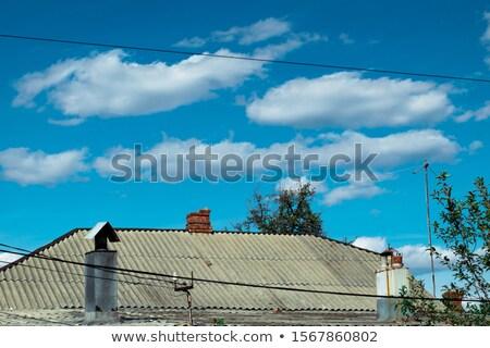 Vermelho celeiro blue sky paisagem papel arte Foto stock © Kheat