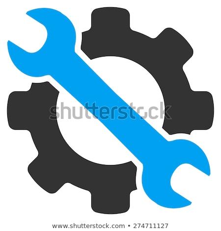 Inżynierii usługi ikona narzędzi klucz naprawy Zdjęcia stock © WaD