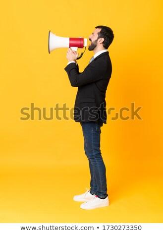 Spanyol üzletember beszél hangfal készít közlemény Stock fotó © RAStudio