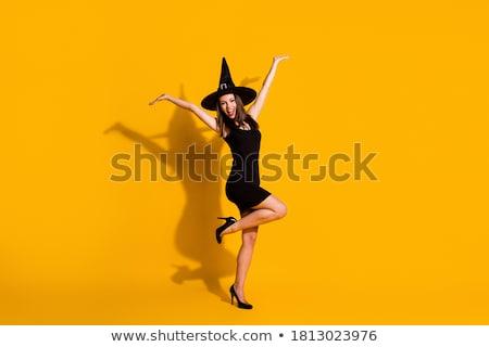 érzelmes káprázatos fiatal nő boszorkány halloween jelmez Stock fotó © deandrobot