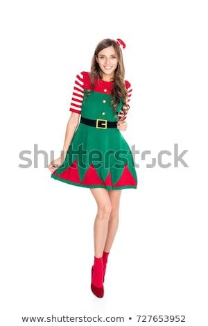 vrouw · elf · kostuum · glimlachende · vrouw · geïsoleerd - stockfoto © lightfieldstudios