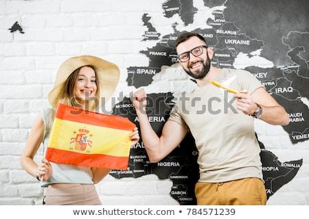 カップル 笑みを浮かべて スペイン国旗 女性 肖像 エネルギー ストックフォト © IS2