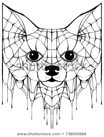 Black spiderweb silhouette head dog. Halloween accessory Stock photo © orensila