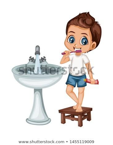 jongen · tandenborstel · geïsoleerd · witte - stockfoto © is2