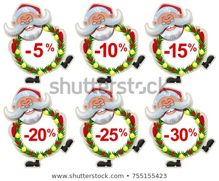Set discount label Santa Claus Christmas wreath of fir branches Stock photo © orensila