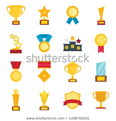 cup winner icon flat cartoon style isolated on white background vector illustration stock photo © lucia_fox