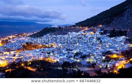 chefchaouen panorama blue city morocco stock photo © dinozzaver