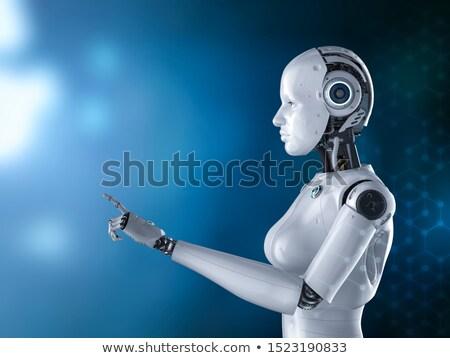Stockfoto: Vrouwelijke · robot · pop · art · retro · vrouw · metaal