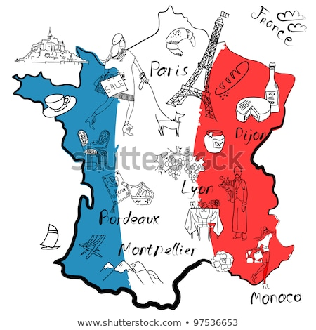 map of france with eiffel tower in paris national french food stock photo © popaukropa