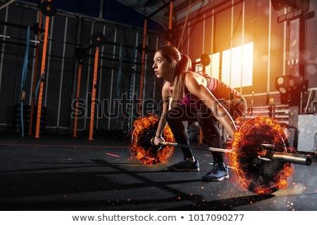 kız · dışarı · spor · salonu · ateşli · halter - stok fotoğraf © alphaspirit