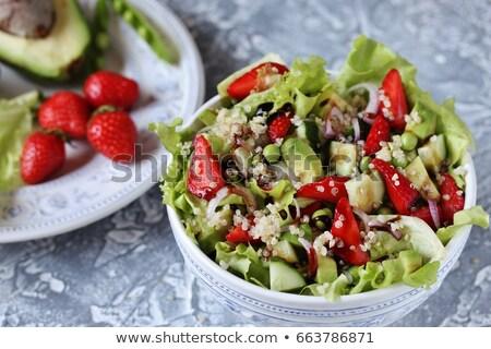 mujer · tazón · cocina · saludable · ensalada - foto stock © m-studio