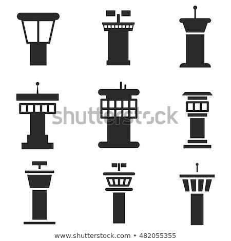 Stock fotó: Repülőtér · repülés · irányítás · torony · ikon · levegő