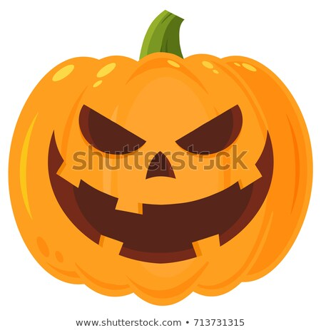 Grinning Evil Halloween Pumpkin Cartoon Emoji Face Character With Expression Stock photo © hittoon