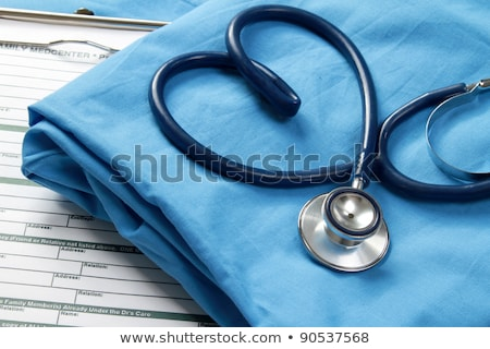 Stethoscoop hartvorm witte papier houten Stockfoto © CsDeli