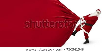 ストックフォト: 赤 · ビッグ · サンタクロース · 袋 · 孤立した · 白