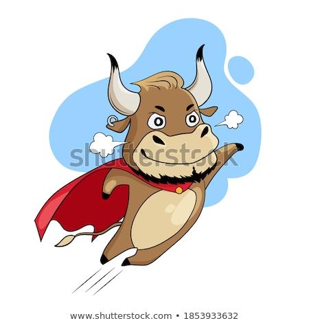 Bruin koe cartoon mascotte karakter vliegen Stockfoto © hittoon