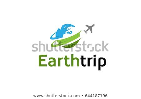 Dinamikus földgömb logo nyíl vállalati arculat Stock fotó © amanmana