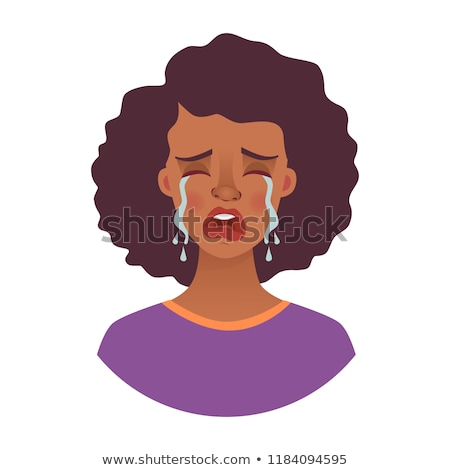 Girl crying head. Woman weeping. Tears from eyes. Vector illustr Stock photo © MaryValery