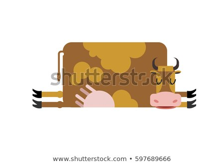 Stock photo: Sleeping cow. farm animal is asleep. Sleepy cattle