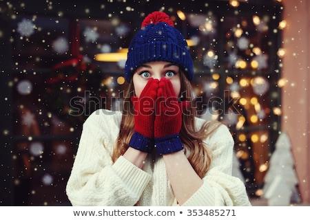女性 通り クリスマス 若い女性 ショッピングバッグ 徒歩 ストックフォト © liolle