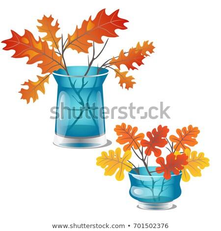 ősz citromsárga tölgy levelek átlátszó üveg Stock fotó © Lady-Luck